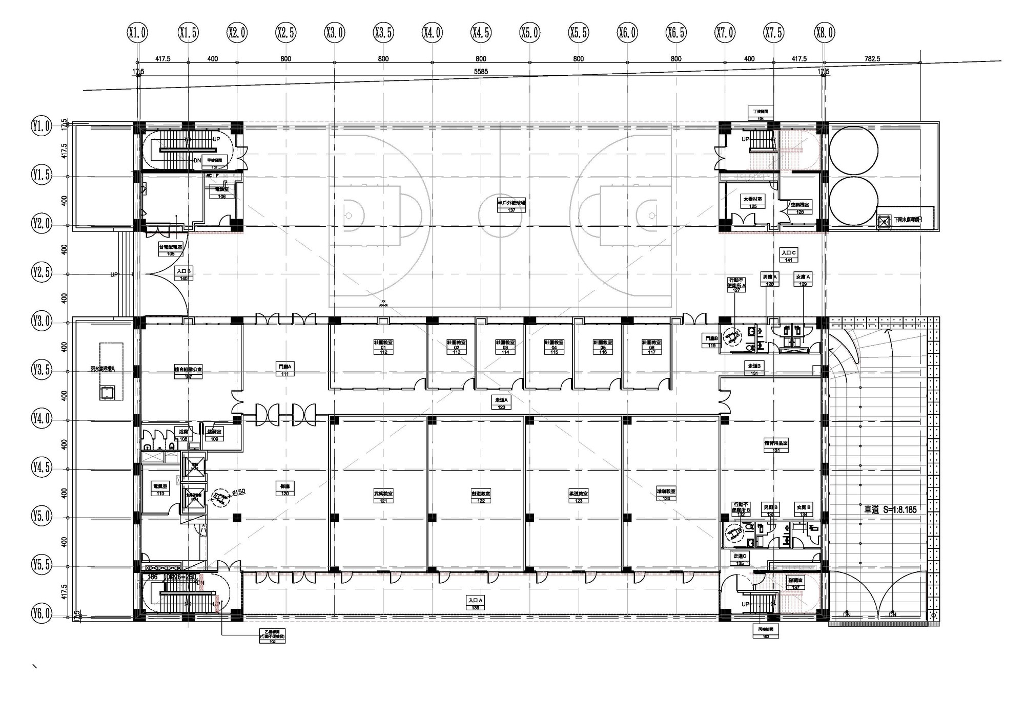 Ntfsh gymnasium qlab archdaily for Gym floor plan design