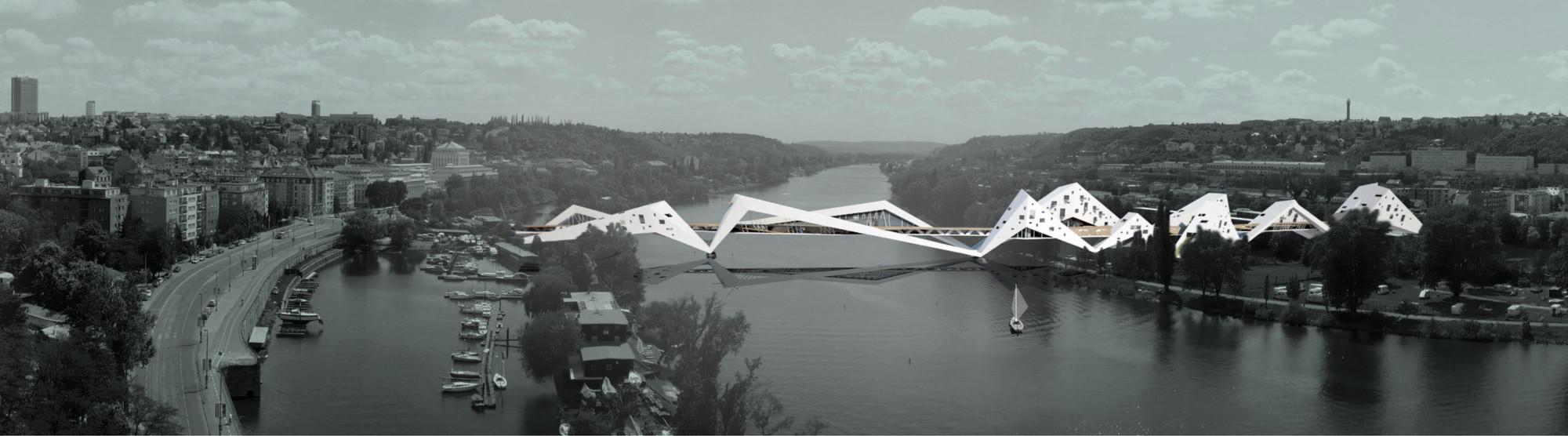 'Prague: Bridge-Building over the Vltava River' Competition Entry / Juráš Lasovský, Courtesy of Juráš Lasovský