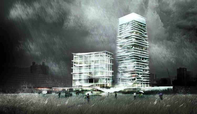 KAMJZ propone torres que amortiguan el efecto sísmico a través del agua, Cortesía de KAMJZ Architects