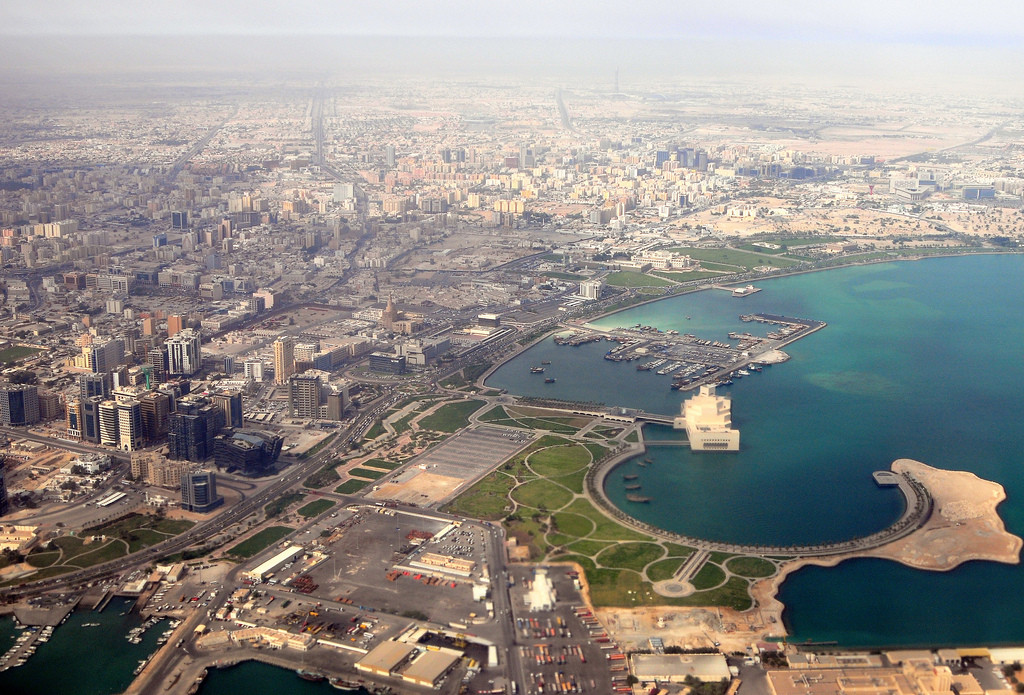 Aerial View of Doha, Qatar; Courtesy of Flickr User Oryx; Licensed via <a href='https://creativecommons.org/licenses/by-sa/2.0/'>Creative Commons</a>