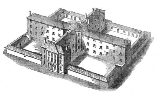 Sampson Kempthorne cruciform workhouse design for 300 paupers, via wikipedia