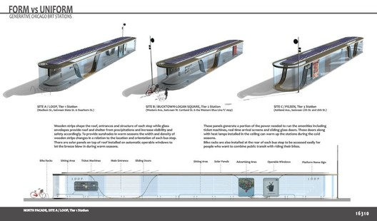 1st place 'Form vs. Uniform: Generative Chicago BRT Stations' / Courtesy of Hesam T. Rostami and Bahareh Atash