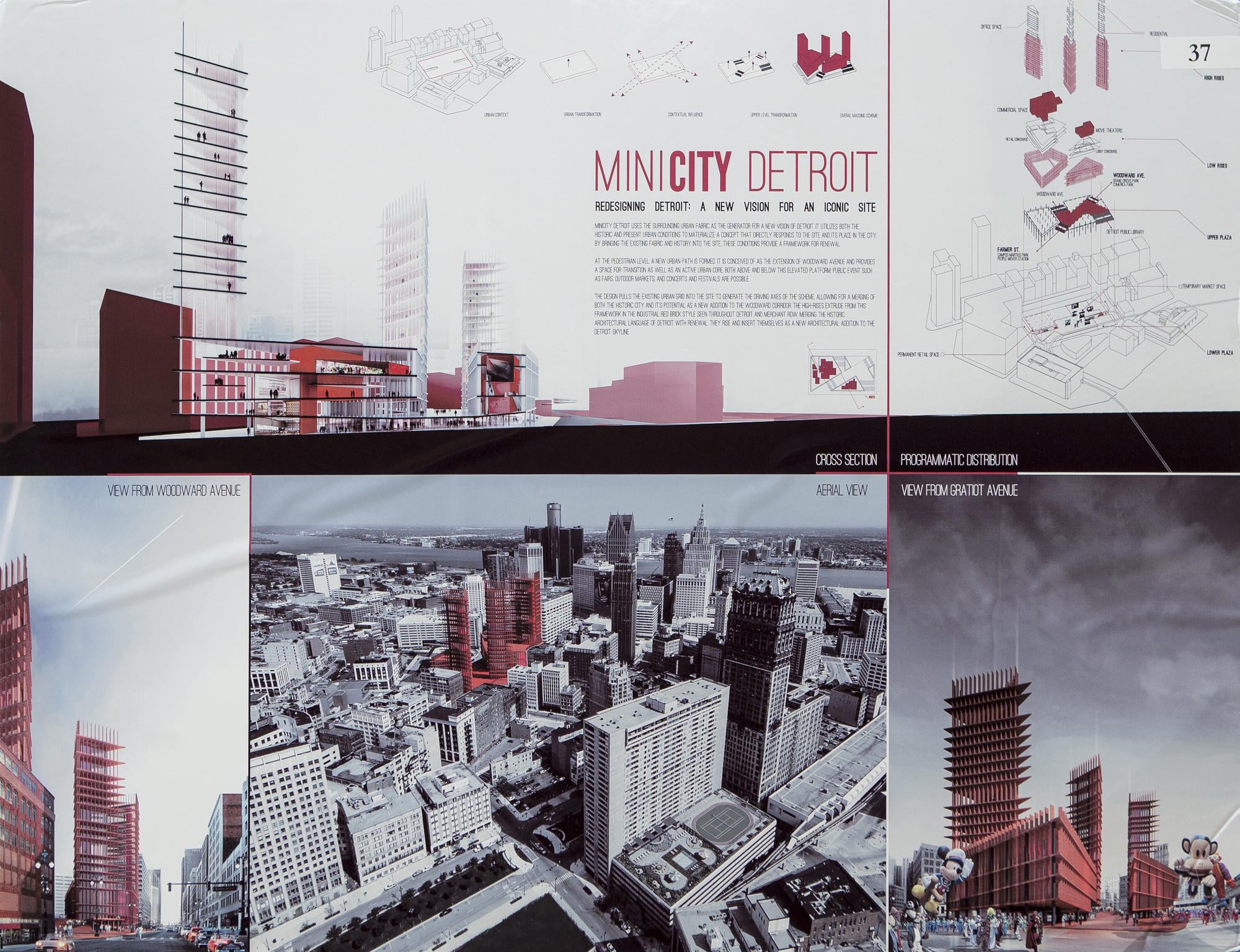 "2013 ""Redesigning Detroit: A New Vision for an Iconic Site"" Winners Announced, 1st Place ""MINICITY Detroit"" by Davide Marchetti and Erin Pellegrino"