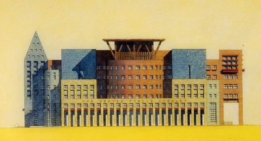 Drawings of Denver Central Library by Michael Graves, a proponent of postmodernist architecture. Image © Michael Graves