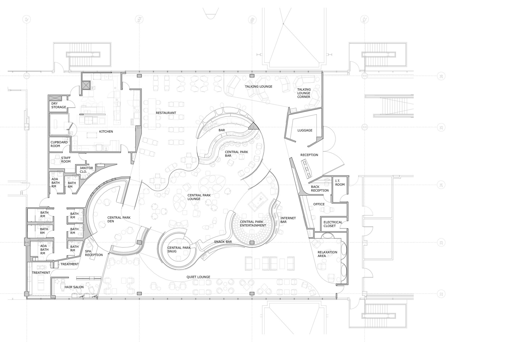 Virgin atlantic clubhouse slade architecture archdaily for Clubhouse floor plans