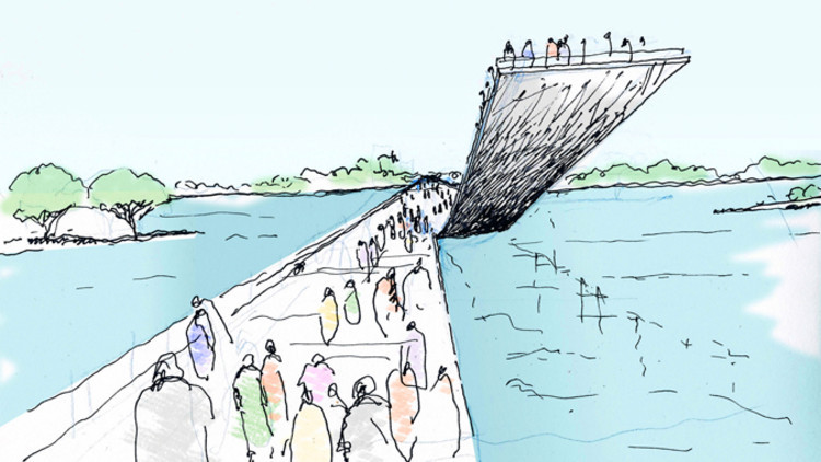 """""""Among those interventions: a series of pedestrian pathways across the car-dominated Key Bridge that allow people to dwell within the bridge's crevices and arches."""" Image ©Gensler."""