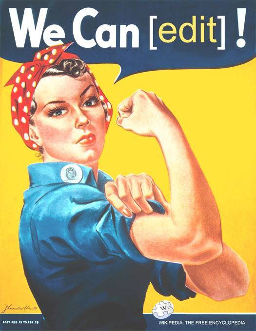 "Image by Tom Morris, March 2012, based on the ""We Can Do It!"" poster created by J. Howard Miller in 1942 for the U.S. War Production Coordinating Committee, as part of the homefront mobilization campaign during World War II. [Courtesy of Wikimedia Commons, via Design Observer"