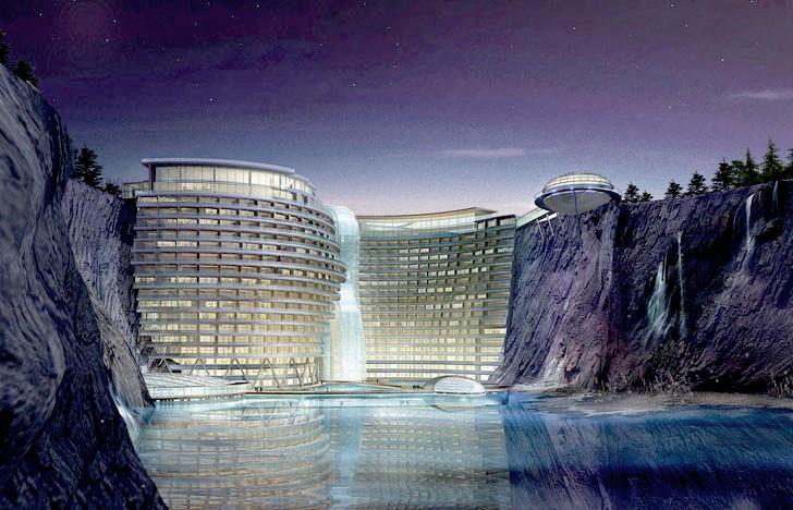 Comienza la construcción de Songjiang Hotel: un Eco-Resort ubicado en una cantera de 100 metros de profundidad, © Atkins Global