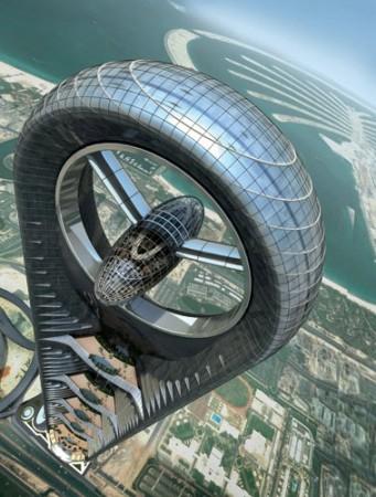"""Por qué la Arquitectura Verde pocas veces merece su nombre, Antes de su cancelación, la Torre Anara fue planeada para ser uno de los edificios más altos de Dubai, y un icono de la sostenibilidad - a pesar de sus superficies vidriadas con orientación oeste, la incorporación de materiales de alta tecnología y una gigante (y decorativa) turbina eólica. El edificio ofrece una atractiva """"imagen sustentable"""" que no se condice con su sostenibilidad real. Imagen cortesía de Atkins Design Studio."""