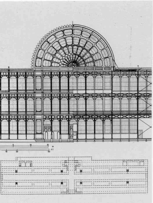 Part front (left) and part rear (right) view and floor plan of London's Crystal Palace. © <a href='https://creativecommons.org/licenses/by-sa/3.0/'>Wikimedia</a> Commons