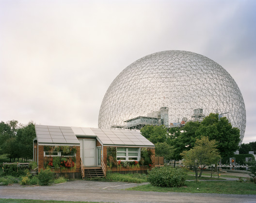 """Montreal 1967 World's Fair, """"Man and His World,"""" Buckminster Fuller's Geodesic Dome With Solar Experimental House, 2012. Photo © Jade Doskow"""