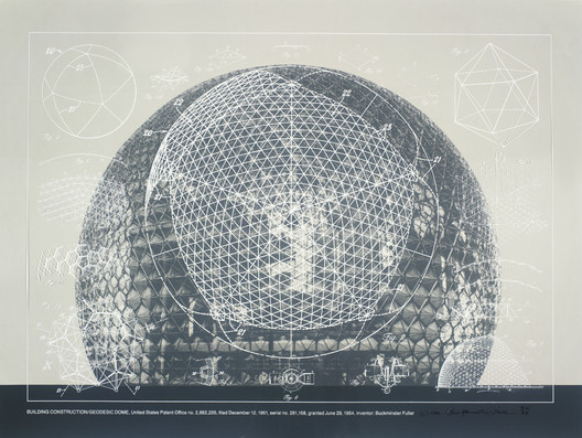 Buckminster Fuller and Chuck Byrne, Building Construction/Geodesic Dome, United States Patent Office no. 2,682,235, from the portfolio Inventions: Twelve Around One, 1981; screen print in white ink on clear polyester film; 30 in. x 40 in. (76.2 cm x 101.6 cm); Collection SFMOMA, gift of Chuck and Elizabeth Byrne; © The Estate of R. Buckminster Fuller, All Rights reserved. Published by Carl Solway Gallery, Cincinnat
