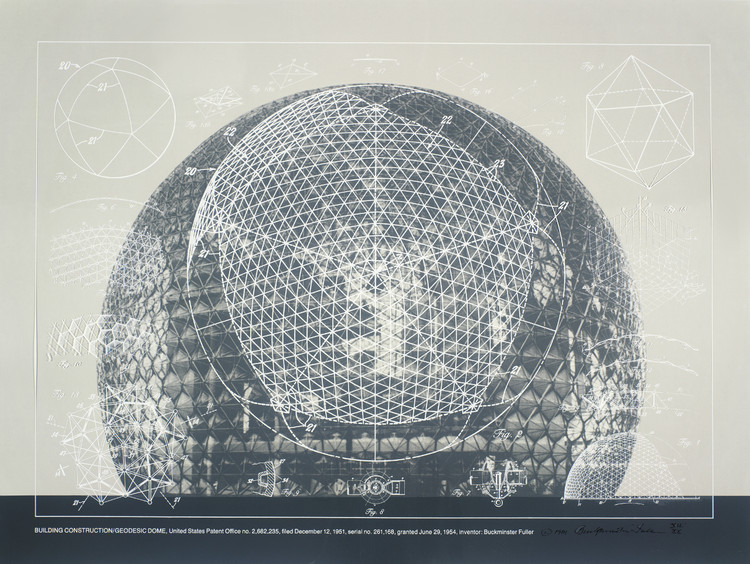 Buckminster Fuller and Chuck Byrne, Building Construction/Geodesic Dome, United States Patent Office no. 2,682,235, from the portfolio Inventions: Twelve Around One, 1981; screen print in white ink on clear polyester film; 30 in. x 40 in. (76.2 cm x 101.6 cm); Collection SFMOMA, gift of Chuck and Elizabeth Byrne. Image © The Estate of R. Buckminster Fuller, All Rights reserved. Published by Carl Solway Gallery, Cincinnati.