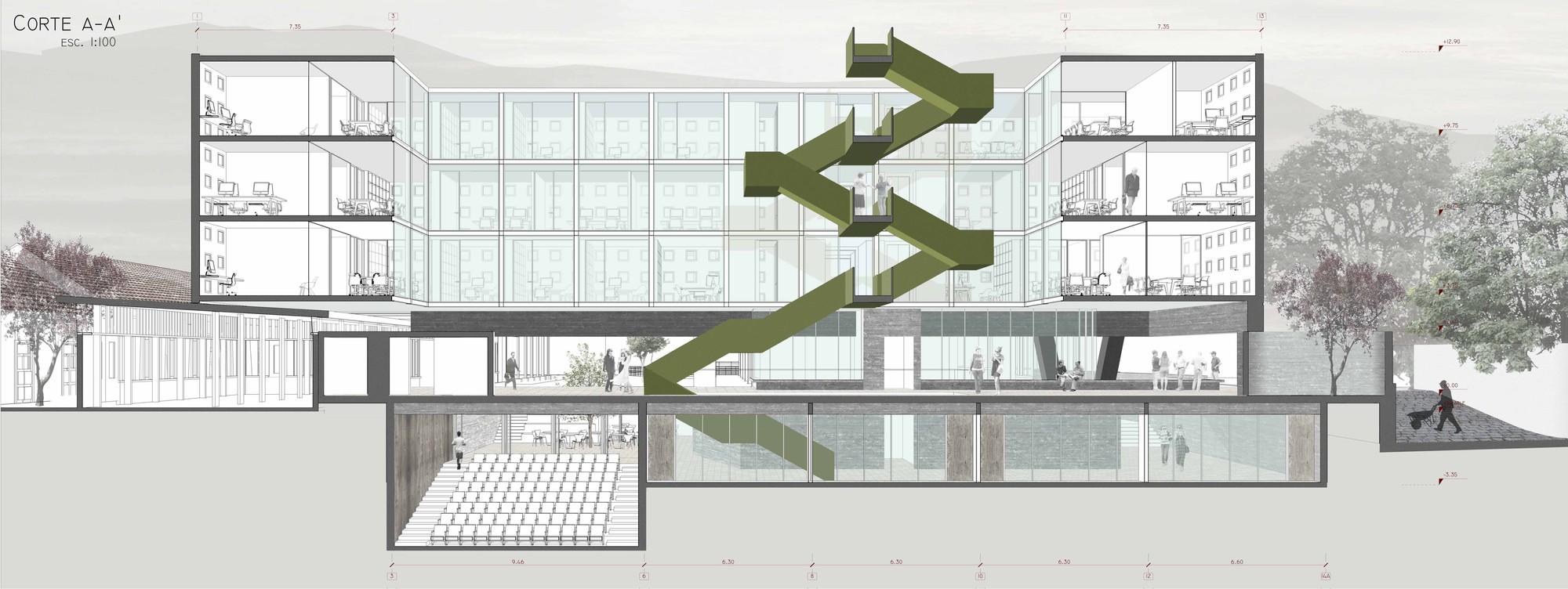 Galer a de ganadores concurso edificio docente y de for Plantas de colegios arquitectura