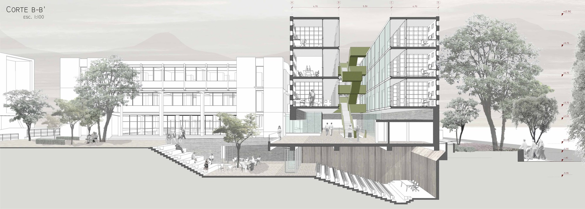 Galer a de ganadores concurso edificio docente y de for Cortes arquitectonicos