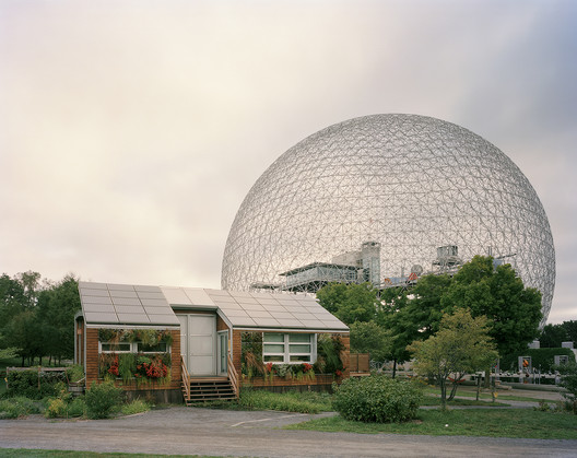 """Montreal 1967 World's Fair, """"Man and His World,"""" Buckminster Fuller's Geodesic Dome With Solar Experimental House, 2012. Image ©Jade Doskow"""