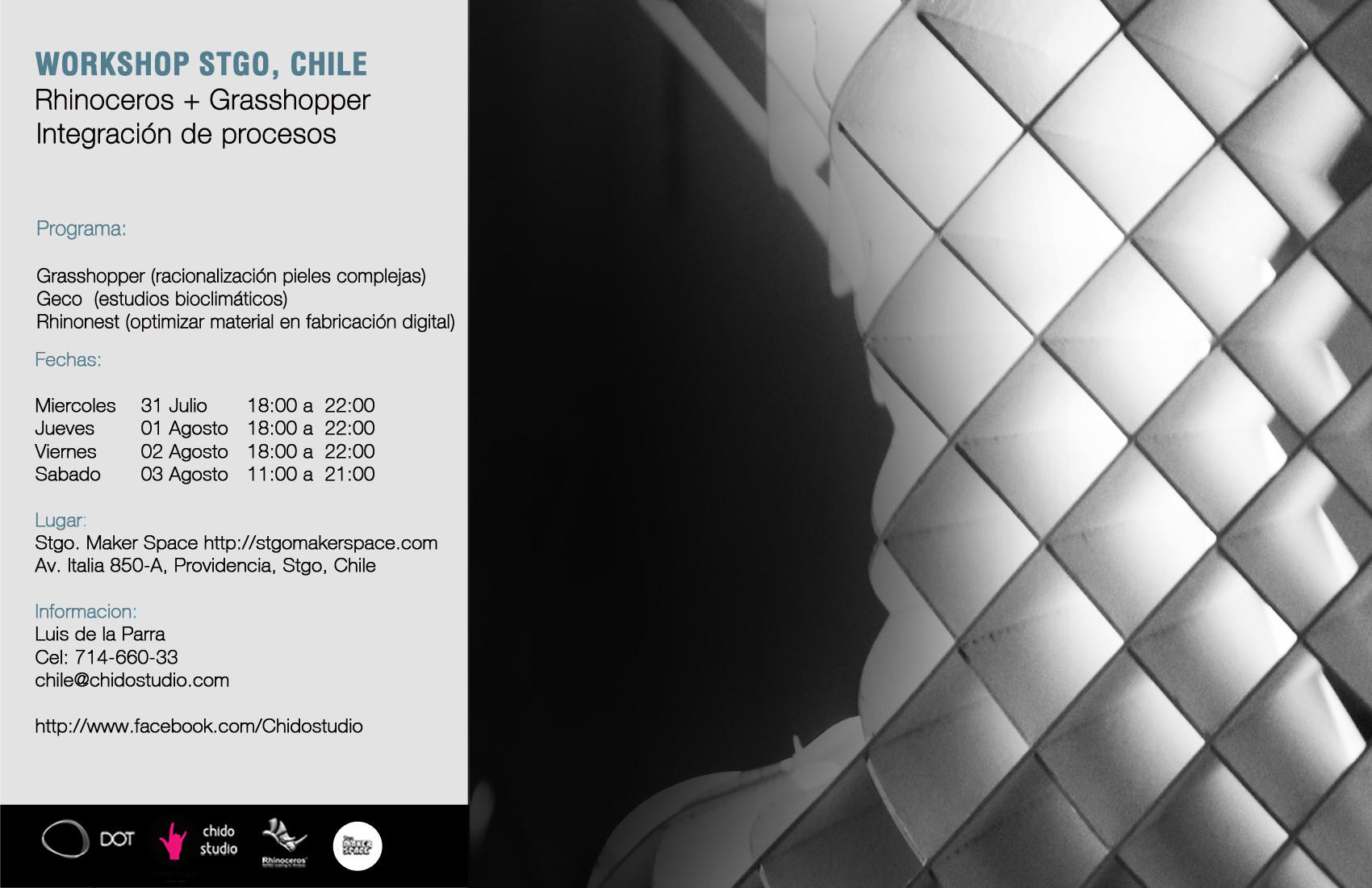 Workshop Rhinoceros + Grasshopper, Integración de Procesos / Chido Studio [¡Sorteamos un Cupo!]