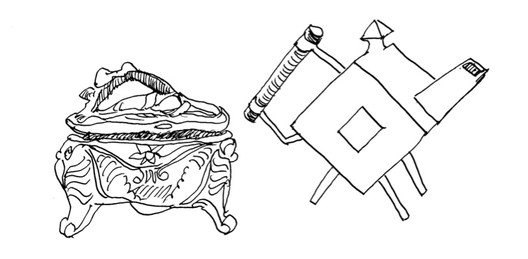 Figure 1. On the left, mass-produced Art Nouveau silver jewelry box by P. A. Coon, 1908. On the right, hand-made Machine Aesthetic silver teapot by C. Dresser, 1879. Drawing by Nikos Salingaros.
