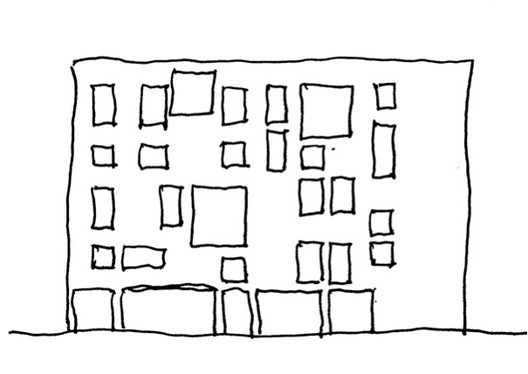 Figure 4. Willful and perverse denial of natural symmetries in contemporary architecture makes people uncomfortable. Drawing by Nikos Salingaros.