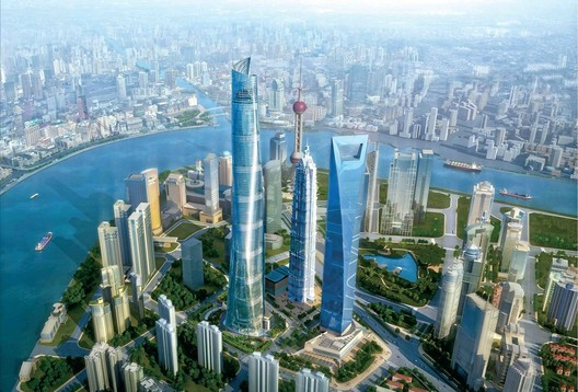 When completed, the Shanghai Tower, in Pudong, will feature an  array of innovative engineering and energy-saving systems. Courtesy of Gensler, via Metropolis Magazine.