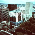 The Portland Building in 1983. Photo by Clausen Meredith via Society of Architectural Historians