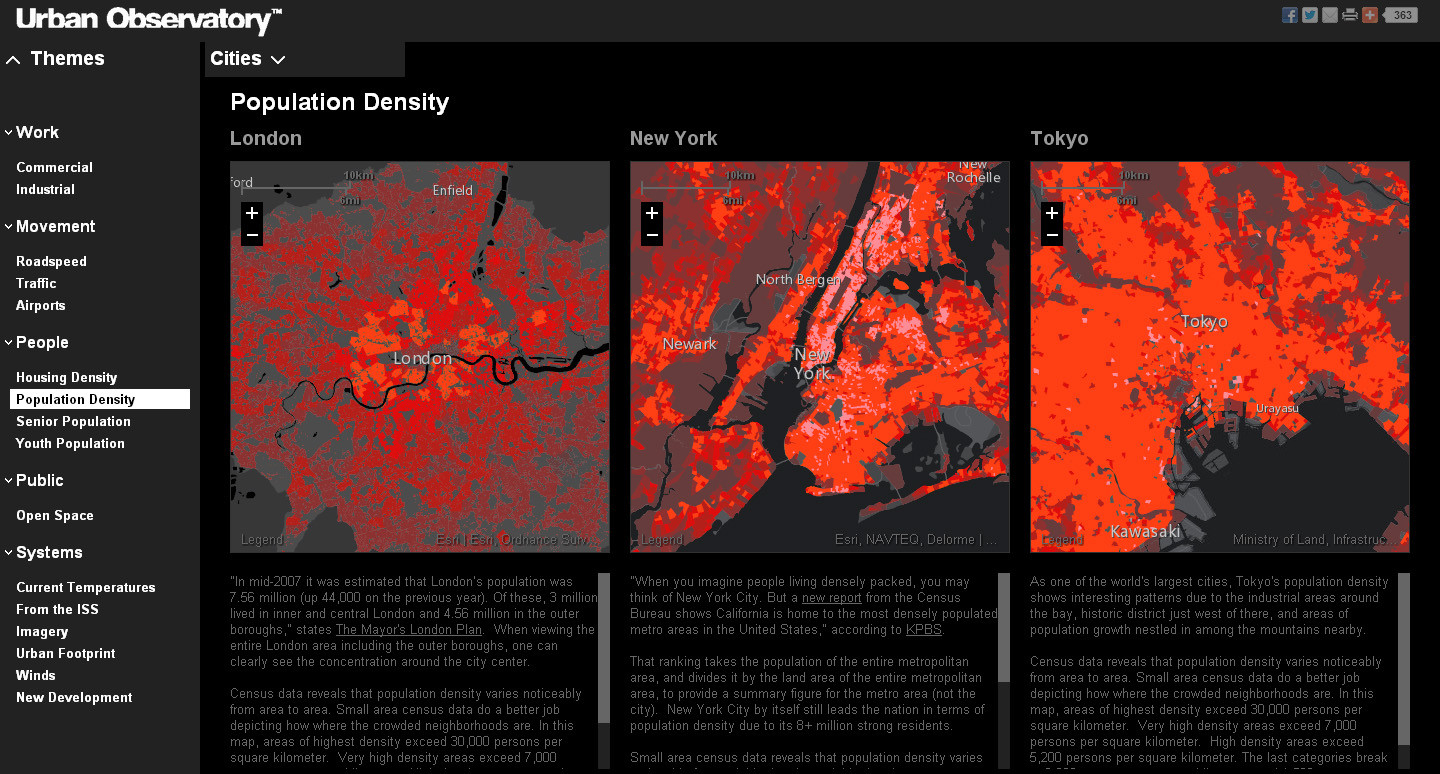 A New Tool for Comparing Cities , Population Density © The Urban Observatory