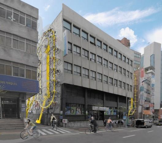 Bike Hanger, a proposal for Seoul. Image courtesy of MANIFESTO Architecture P.C.
