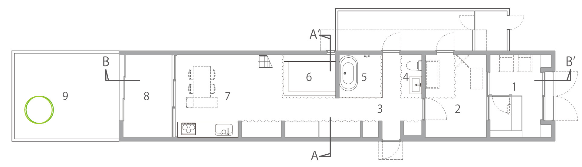 Gallery of dogsalon naoko horibe 20 for Dog grooming salon floor plans