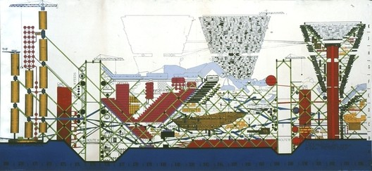 The Plug-In City by Peter Cook, 1964. Image via Archigram Archives