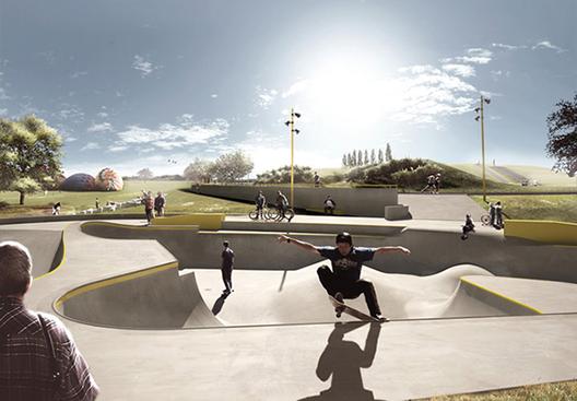 Pistas de Skate en Dinamarca funcionan como contención y drenaje frente a inundaciones, Render. Cortesía de Hypeness