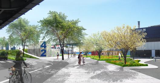 Pier 42 Partial Deck Plan Rendering. Image Courtesy of Mathews Nielsen Landscape Architects