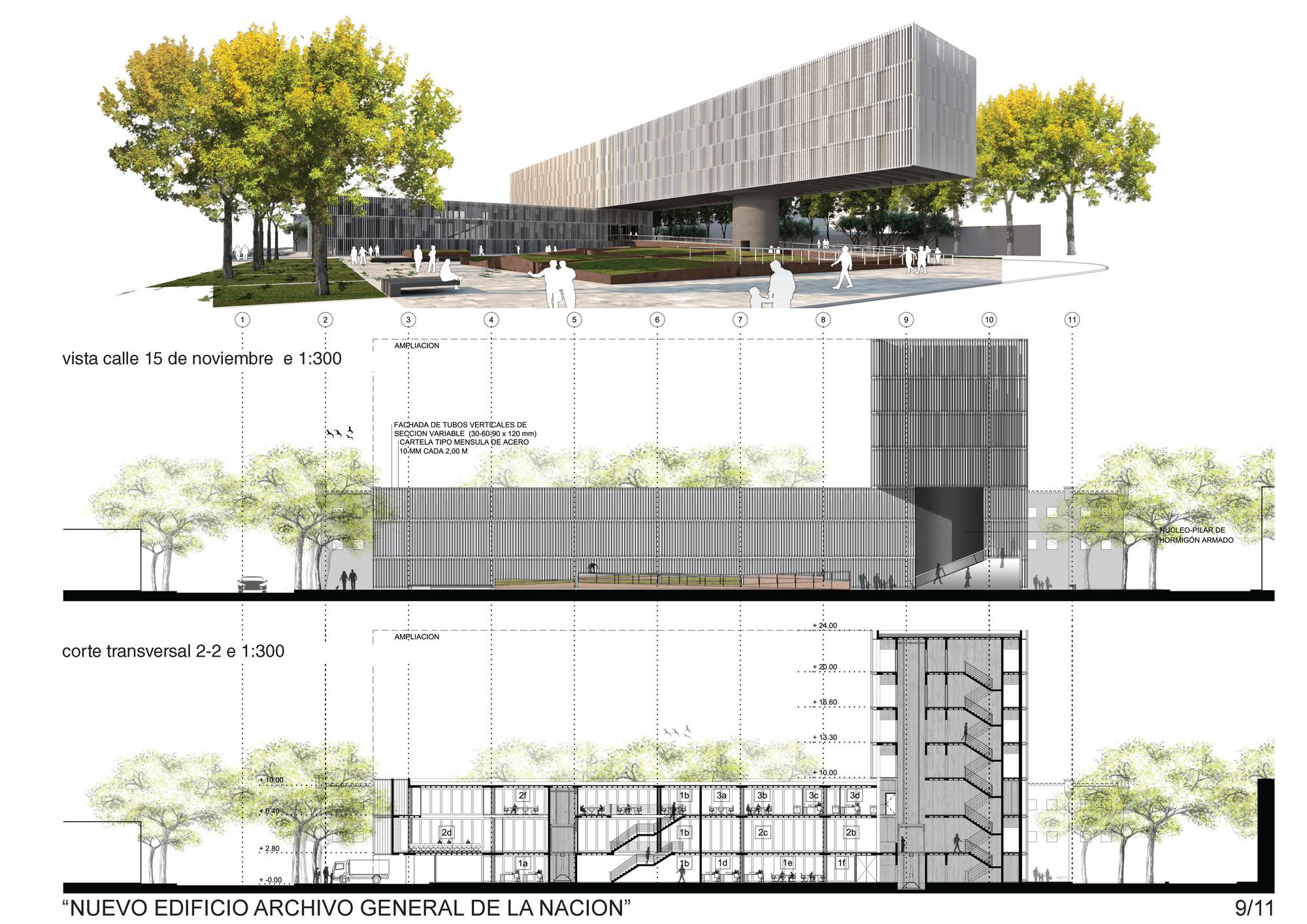 Galeria de terceiro lugar no concurso archivo general de for Fachadas en planos arquitectonicos