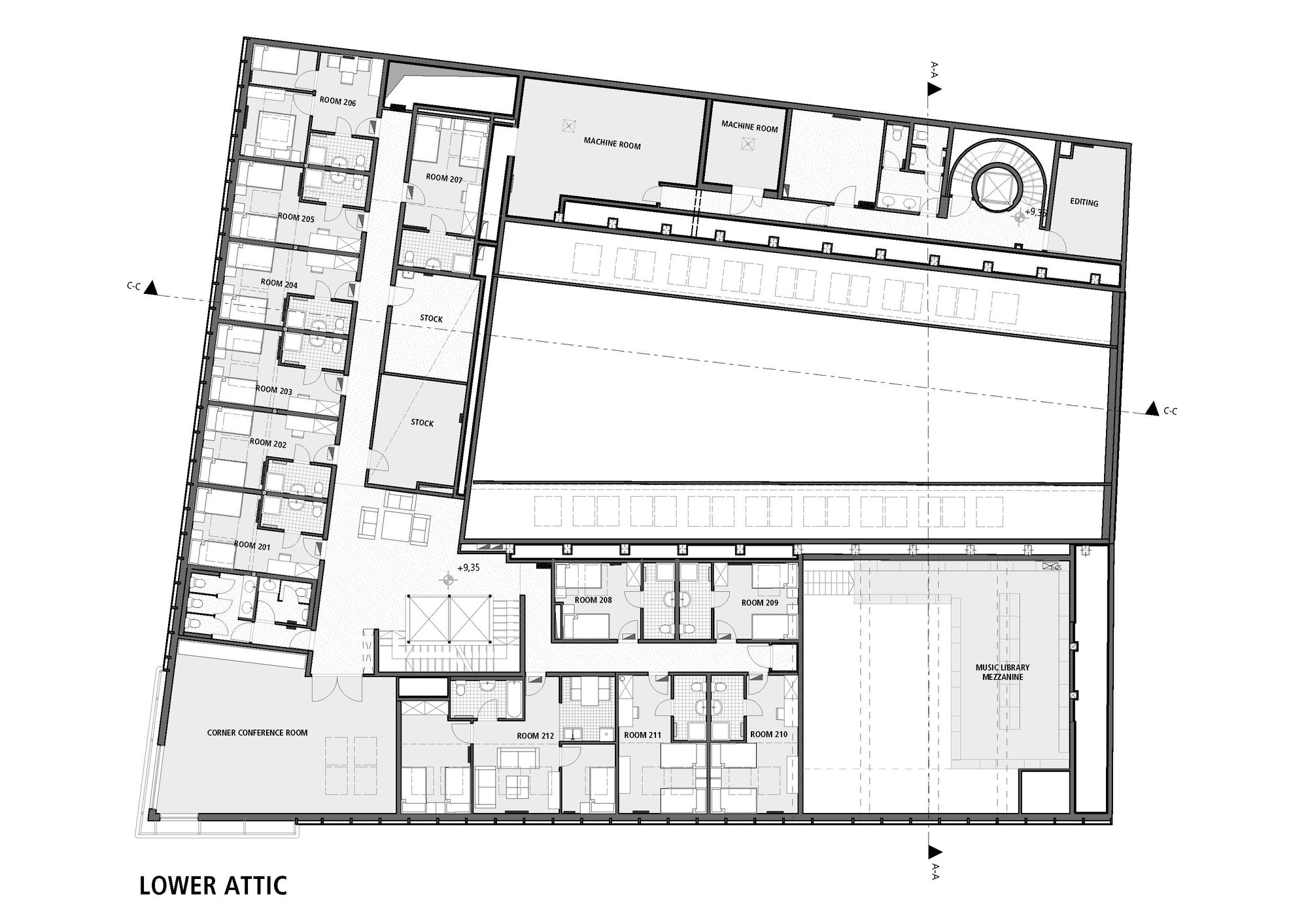 Gallery of budapest music center art1st design studio 30 for Recording studio floor plans architecture