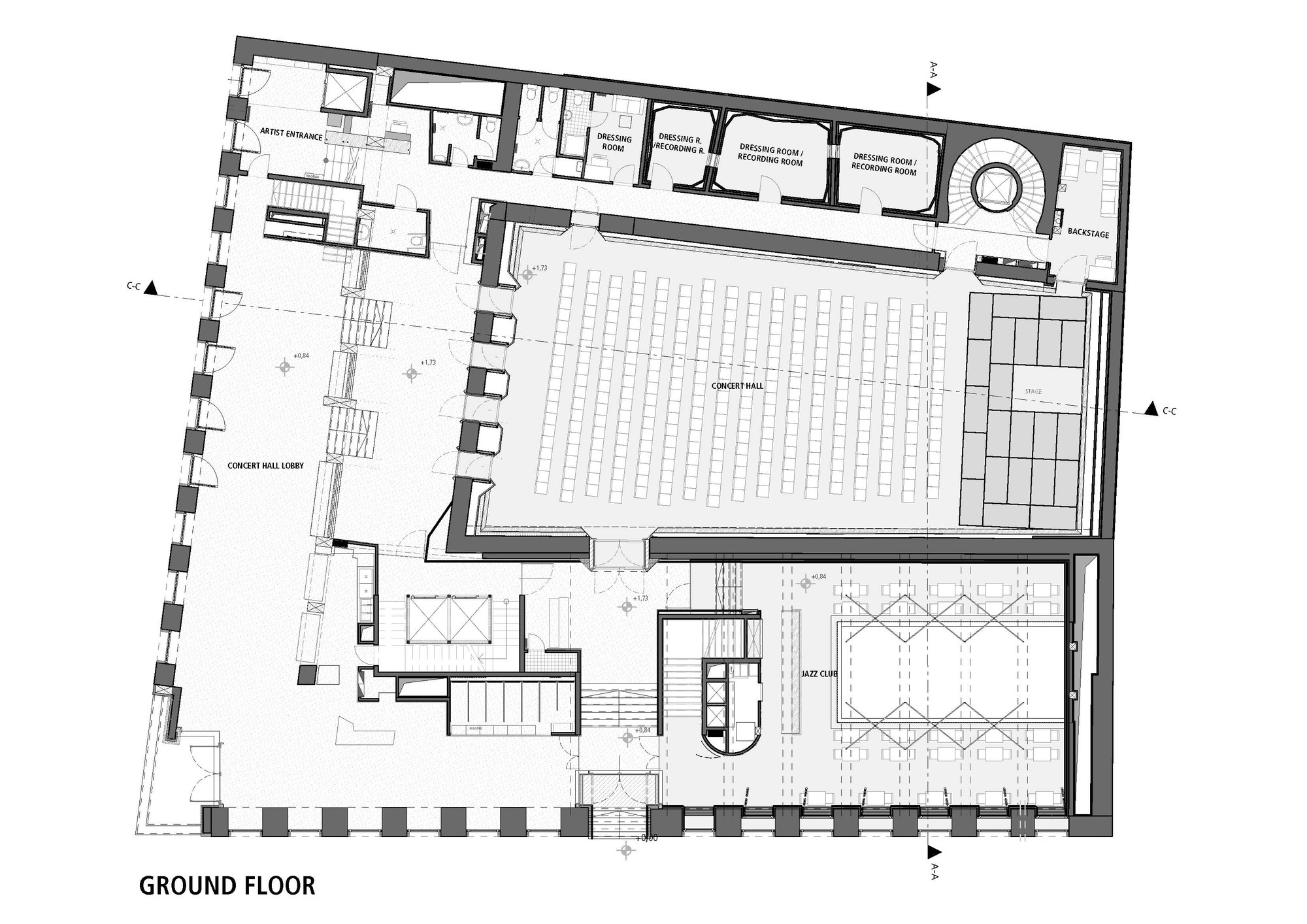 Gallery of budapest music center art1st design studio 32 for Recording studio floor plans architecture
