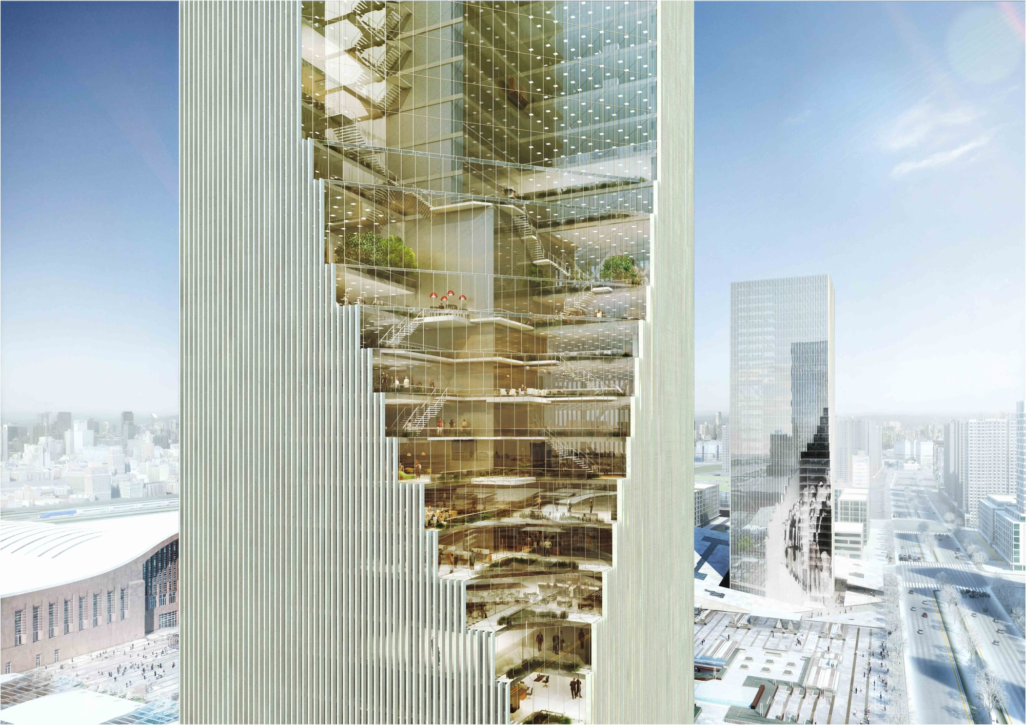 Harbin twin towers proposal spatial practice archdaily for Residential atrium