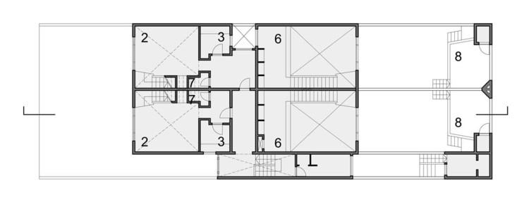 Planta Nivel 1. 1.Garaje 2.Estar-comedor 3.Cocina 4.Baño 5.Estudio 6.Dormitorio-estudio 7.Aseo 8.Terraza 9.Dormitorio