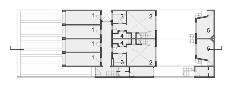 Planta Baja. 1.Garaje 2.Estar-comedor 3.Cocina 4.Baño 5.Estudio 6.Dormitorio-estudio 7.Aseo 8.Terraza 9.Dormitorio