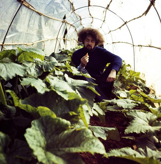 Carlo Caldini in the vegetable garden, S-Space Mondial Festival, 1971
