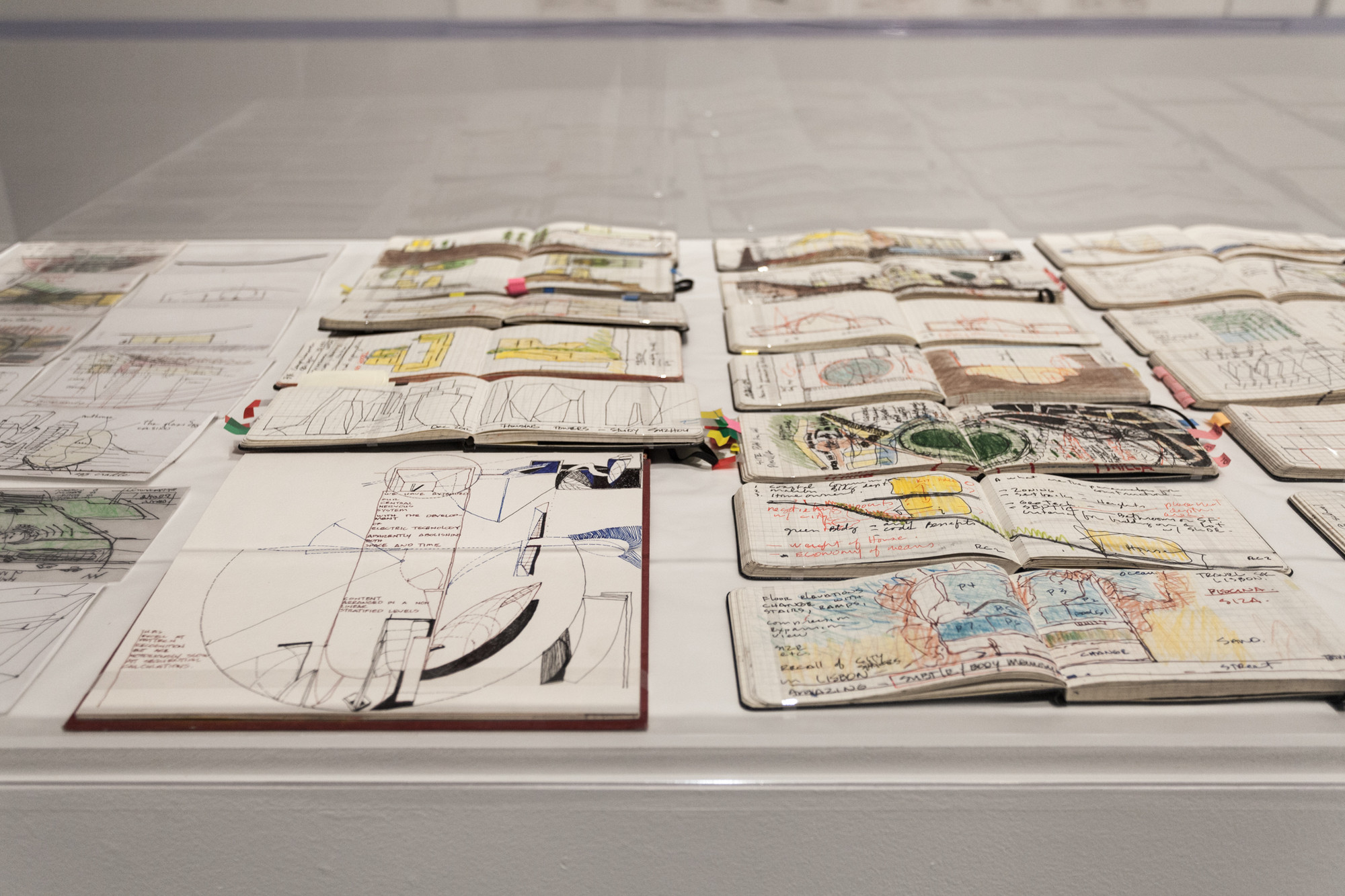 Sketchbooks by Michael Rotondi of RoTo Architects at The Museum of Contemporary Art, Los Angeles. Image © Taiyo Watanabe