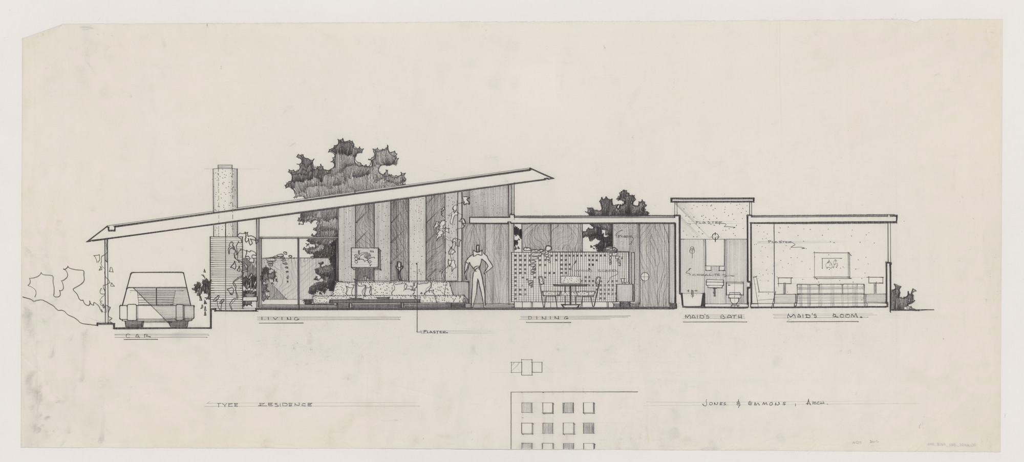 A. Quincy Jones and Frederick E. Emmons, Architects. Milton S. Tyre House, Los Angeles, California, 1951-54. Transverse section through living room, dining room, and maid's quarters. Image Courtesy of Charles E. Young Research Library, UCLA Library Special Collections