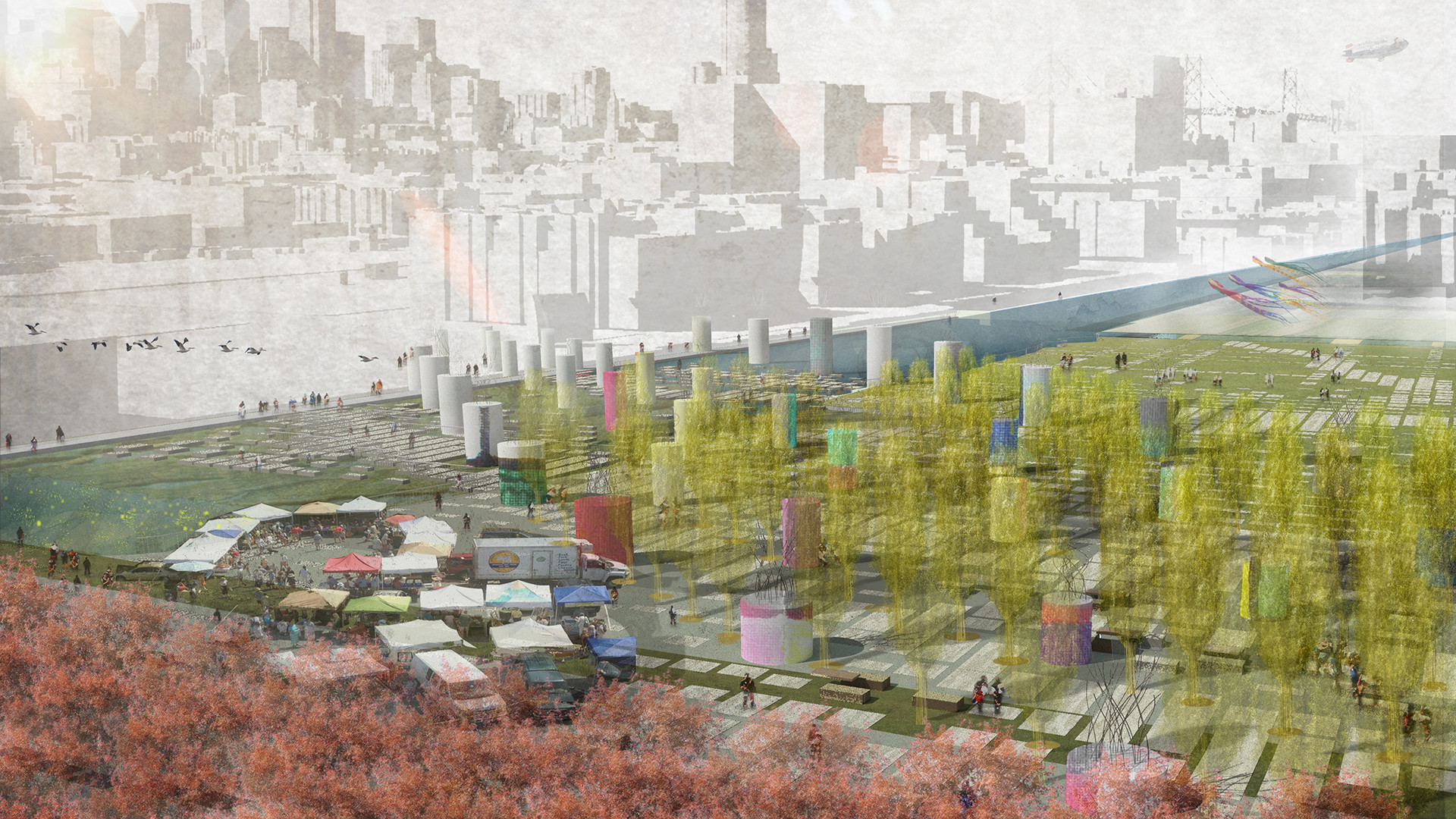 Winners Proposals Suggest Alternatives for San Francisco's 280 Freeway, Fieldshift by Erik Jensen and Justin Richardson. Image Courtesy of The Center for Architecture + Design