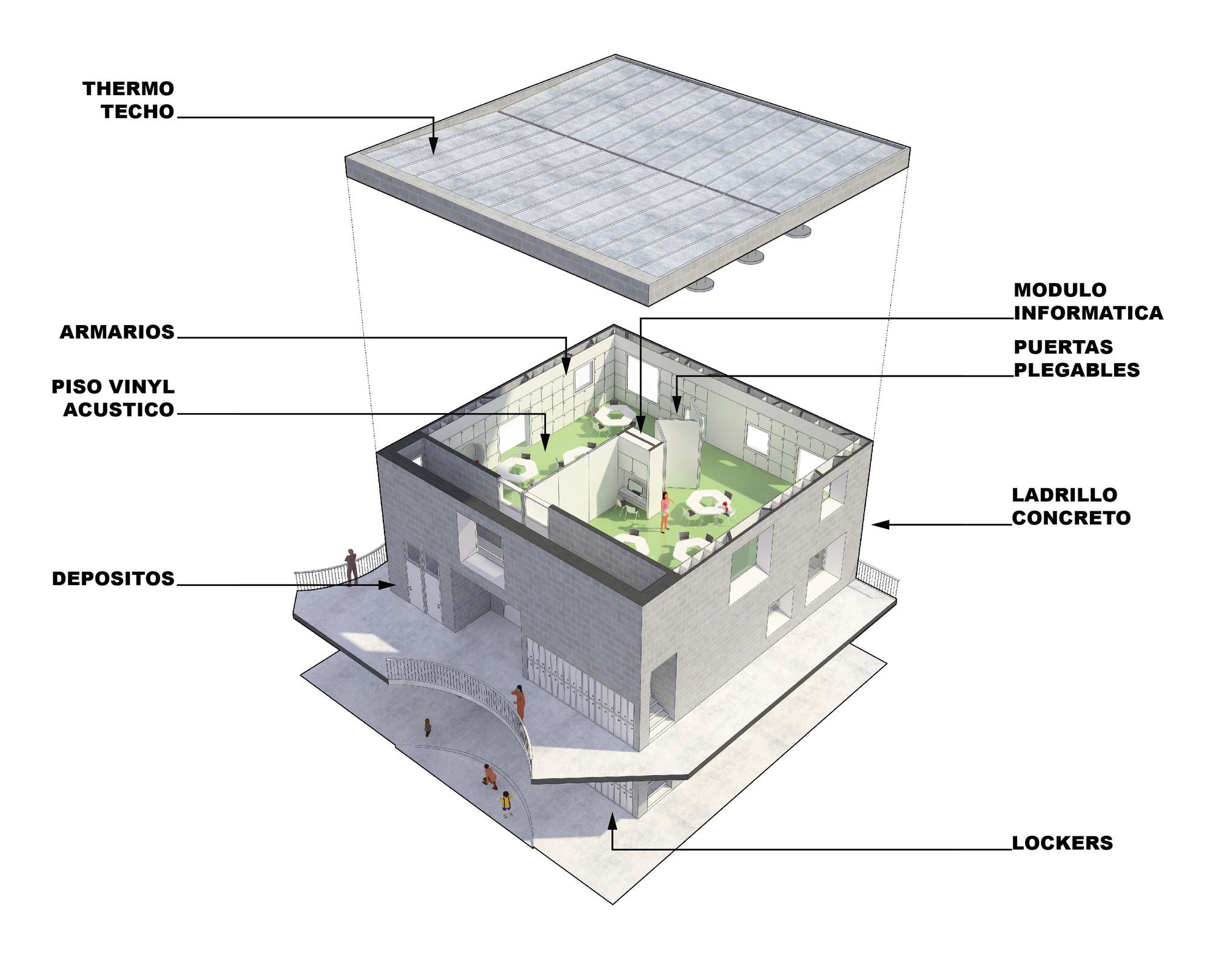 Isométrica aula. Image Courtesy of MASUNOSTUDIO