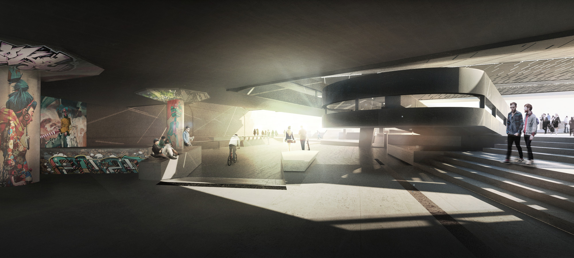Design option for new skateable space at Southbank Centre by 42 Architects. Image Courtesy of The Southbank Centre