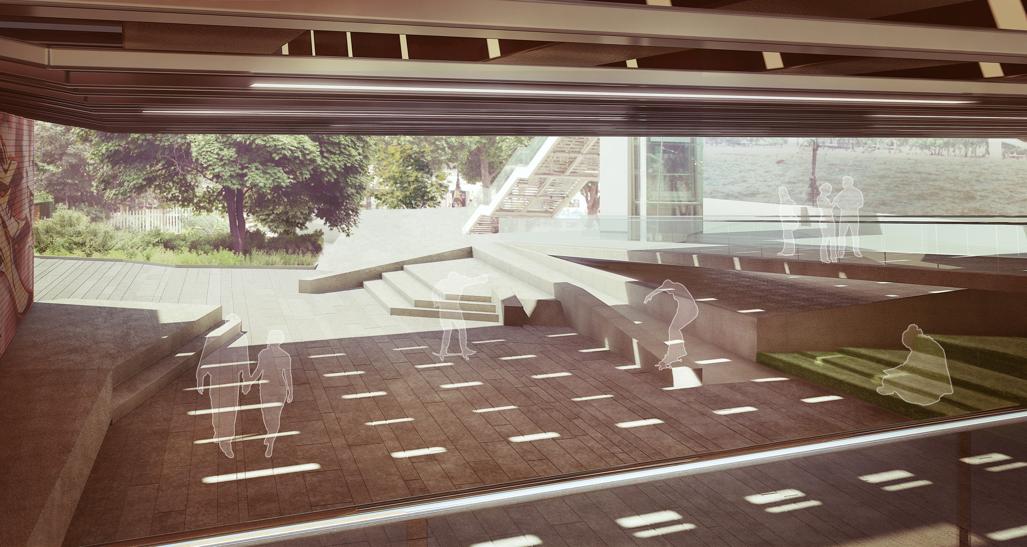 Design option for new skateable space at Southbank Centre by Rich Architecture. Image Courtesy of The Southbank Centre