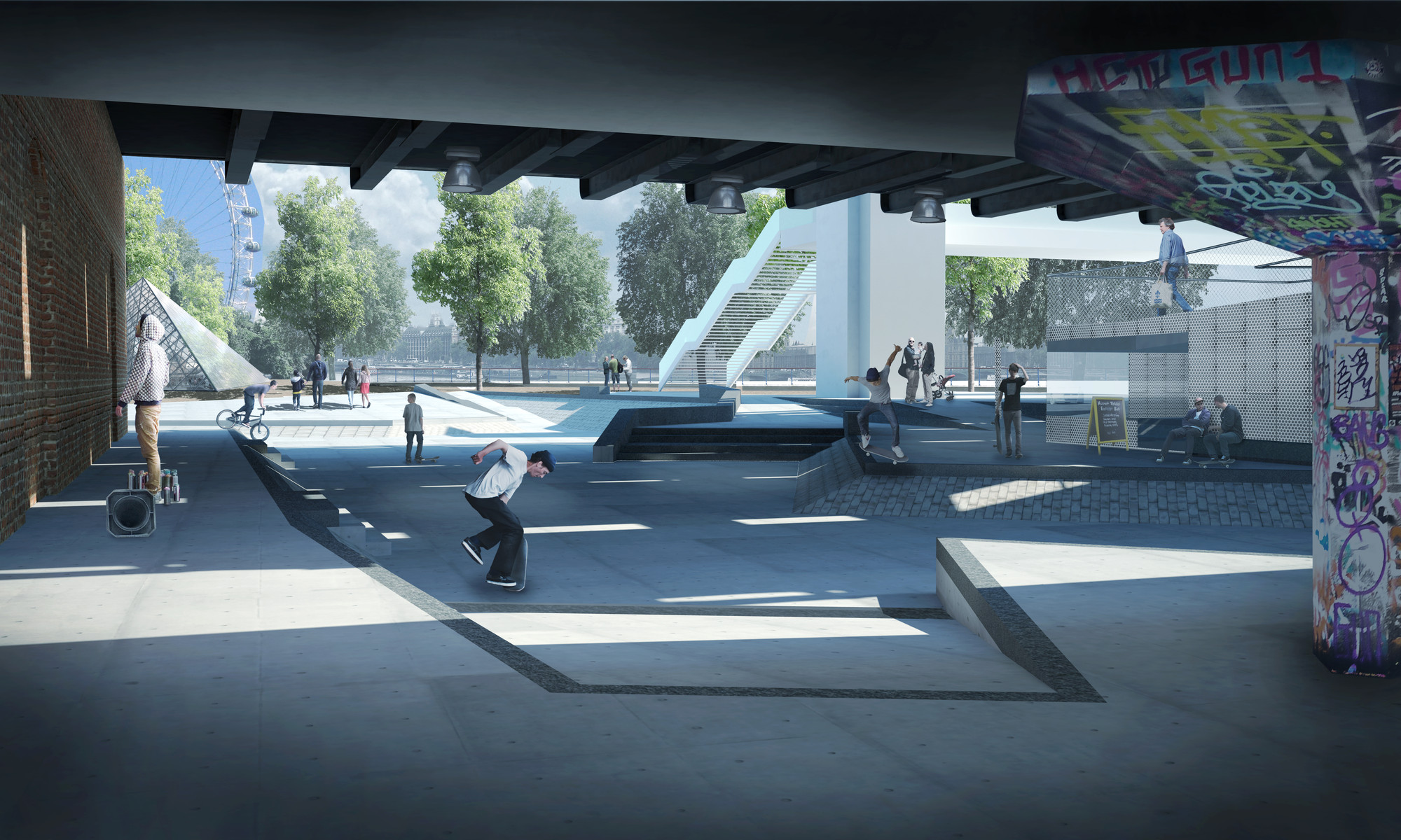 Design option for new skateable space at Southbank Centre by SNE Architects. Image Courtesy of The Southbank Centre