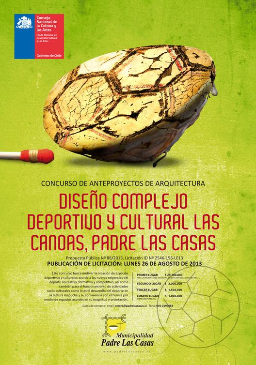 """Convocatoria Concurso de Anteproyecto para el """"Complejo Deportivo y Cultural Las Canoas, Padre Las Casas"""""""