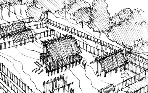 The Ise Shrine: Deconstruction. Sketch by Miller Yee Fong, Architect. Image Courtesy of The Huffington Post