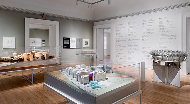 A view of the exhibition, with a model of Peter Eisenman's Biozentrum, Biology Center for the J.W. Goethe University, Frankfurt am Main, Germany, in the foreground. Image Courtesy of CCA, Montreal