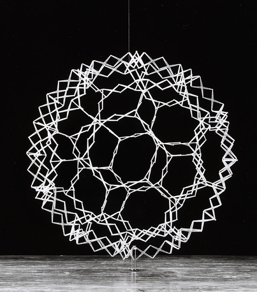 Chuck Hoberman was writing code as early as the 1980s for projects such as this expanding sphere. Image Courtesy of CCA, Montreal