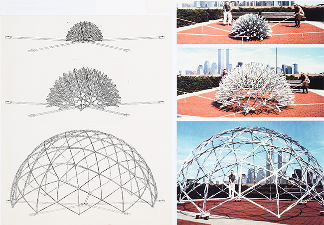 The movement of an expanding geodesic dome, designed by Chuck Hoberman in 1992. Image Courtesy of Hoberman Associates
